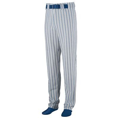 Augusta Sportswear Men's Striped Open Bottom Zipper Baseball Softball Pant. 882 Description 14 ounce 100% polyester double knit, Printed pinstripe, Relaxed fit - full cut with longer inseam and open bottom, Anti-roll elastic waistband with seven pro-style belt loops, Two-snap closure, Brass zipper fly, Two set-in double welt back pockets (one on youth), Reinforced double-needle coverstitched back rise and side seams, Reinforced knees, 35-inch inseam on Adult Large, Double-needle hemmed…