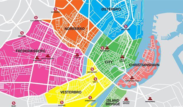 Neighborhoods In Copenhagen Copenhagen Map Copenhagen Travel
