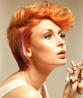 short red straight coloured multi-tonal quiff hairstyles for women.  Fabulous short hair style VISIT  www.hairdressers.com  For inspiration