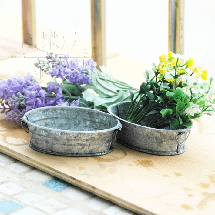 Self shade vintage iron artificial plants flower metal mini footballs meat health and stone flowers flower pot-inFlower Pots & Planters from...