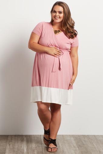 a5a6e94b9f9b3 Light Pink Colorblock Border Plus Size Maternity/Nursing Dress ...