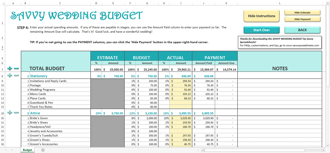 Savvy Wedding Budget  Budget Templates And Wedding