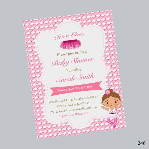 Tutu Baby Shower Invitation, Ballerina Baby Shower Invitation, Pink Tutu  Invitation, Tutu Shower