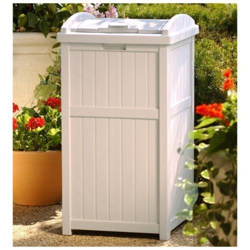 Outdoor Patio Hideaway Resin Trash Can Garbage Bin Waste Container Locking  Lid