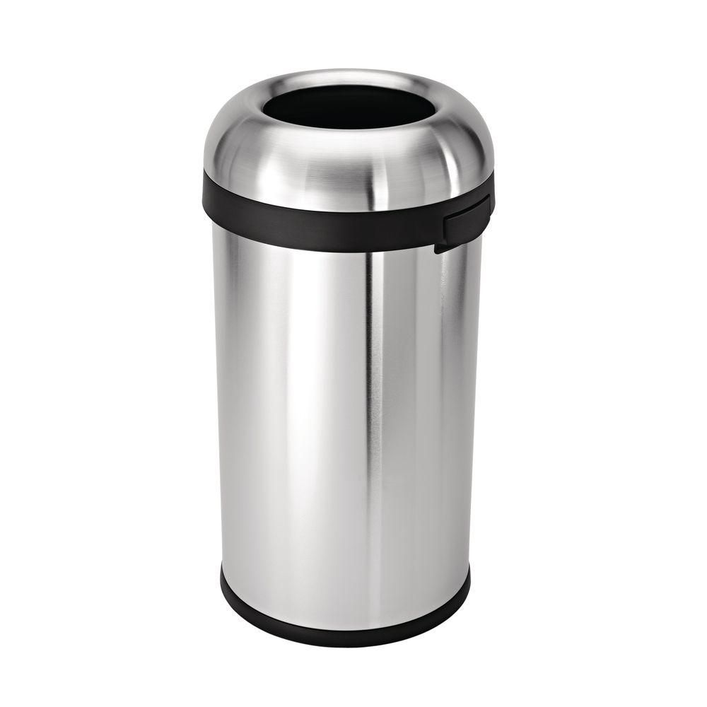 Stainless Steel Kitchen Trash Can Free Design Simplehuman 16 Gal Heavy Gauge Brushed Bullet Round 60 L Open Top Silver Metallic