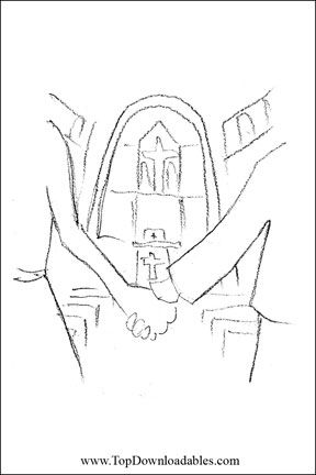 Religious wedding coloring pages church wedding Detailed