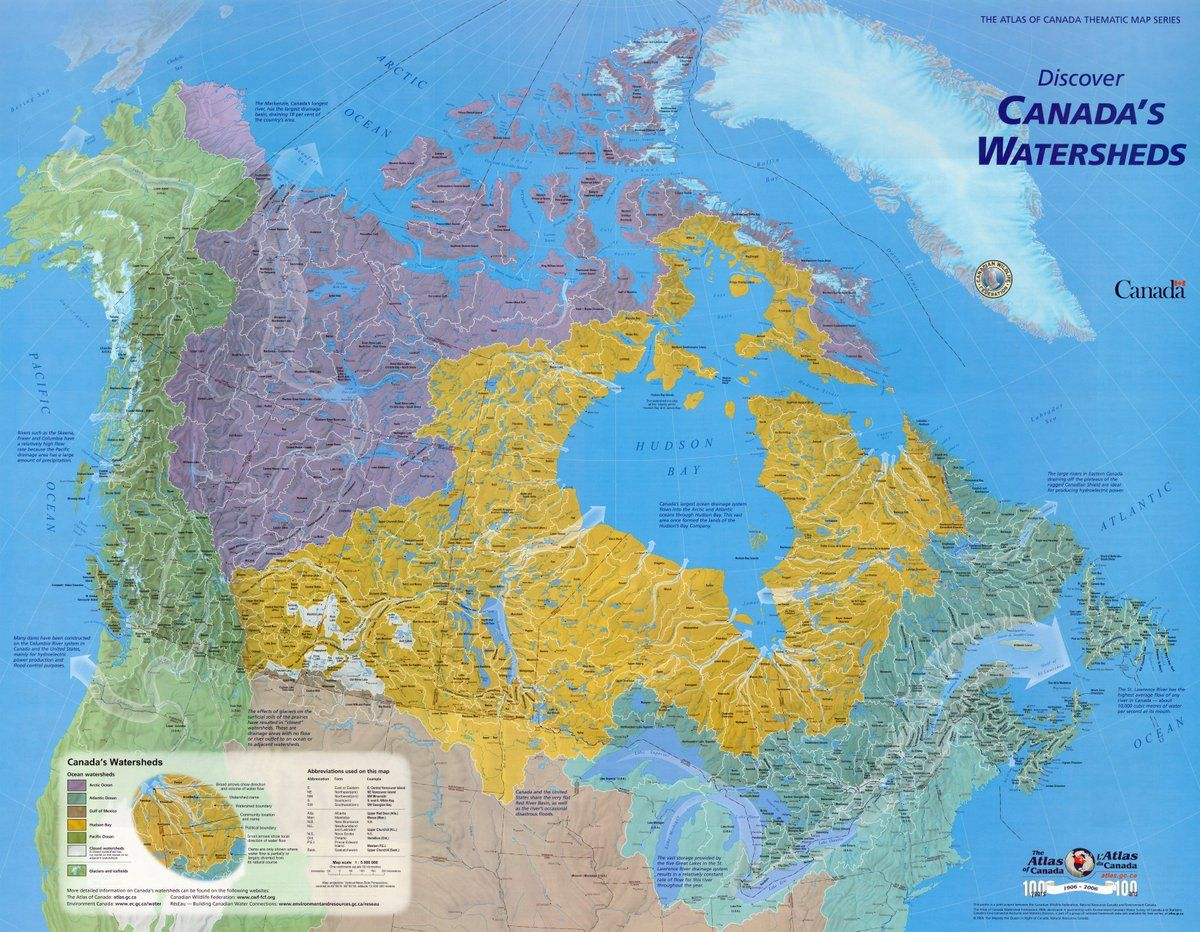 download full size detailed poster map showing canadas watersheds