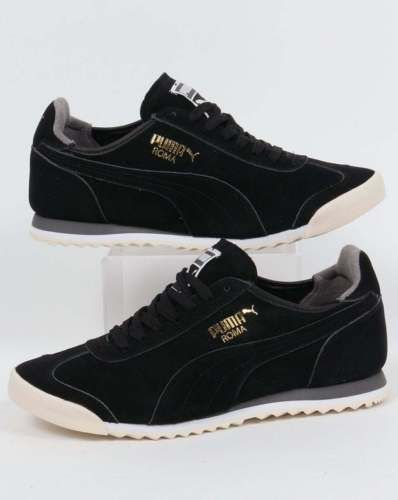 Puma roma og leather  trainers in  black  amp  grey - 80s casual classic b5e642b5d