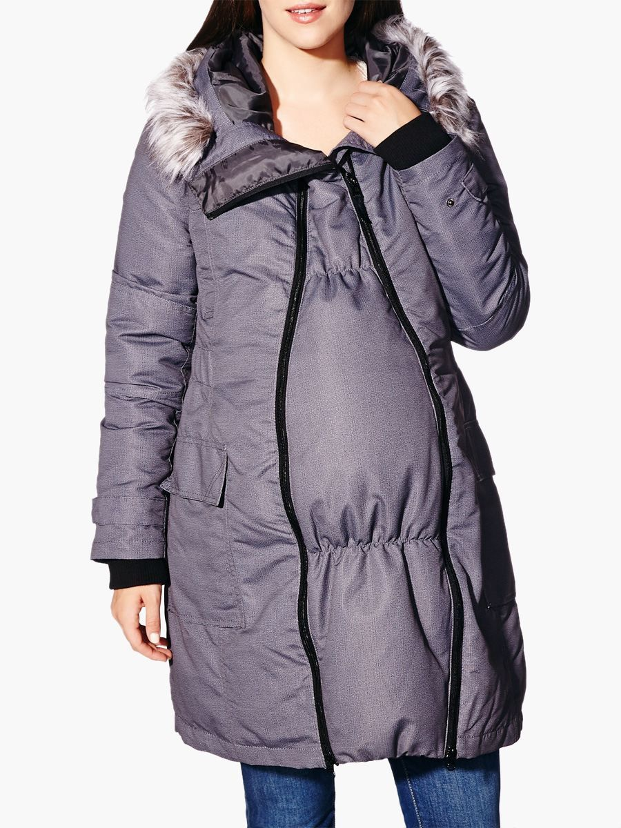 8305a840f8e Faux-Fur Trim Maternity Winter Coat with Extender Panel