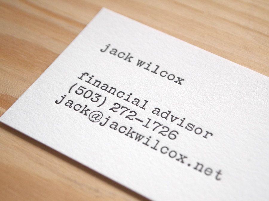 Letterpress Business Cards - Vintage Typewriter Style - Black and ...