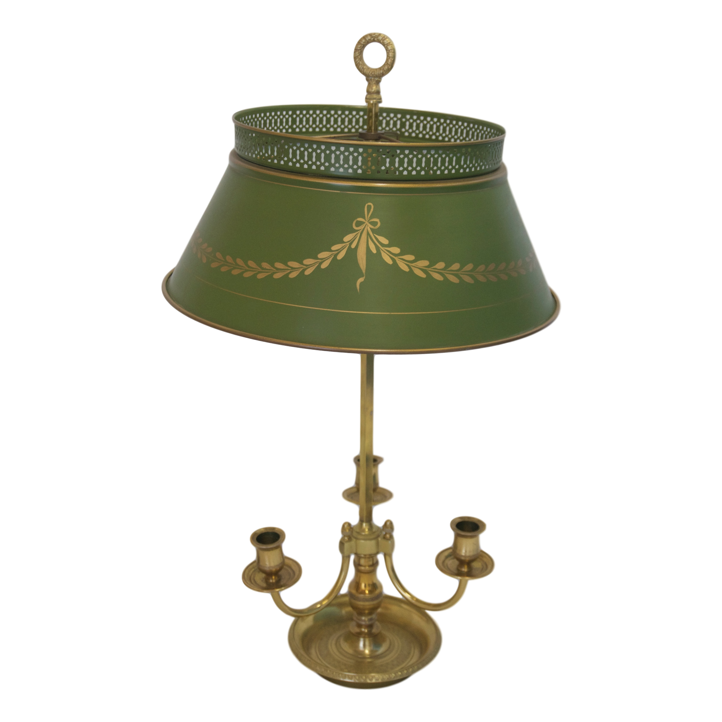 Details: Three Arm French Louis XVI Brass Bouillotte Lamp With Intricate  Embossed Detail On Rim And Inner Cup Of The Tray.