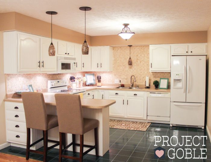 Kitchen Transformation: White Cabinets U0026 Painted Counters With White  Appliances