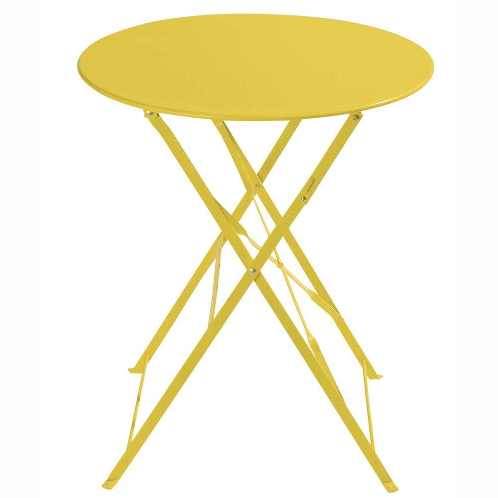 Metal folding garden table in yellow D 9cm  Table de jardin