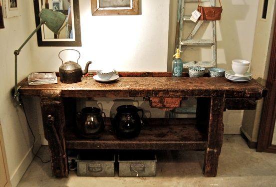 Werktafel oude industriele vintage brocante antiek retro meubels