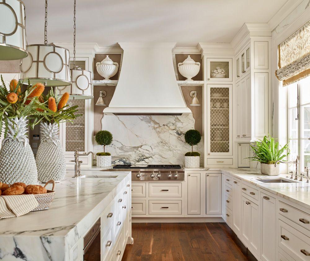 25 Absolutely Gorgeous Transitional Style Kitchen Ideas: Custom White Kitchen With Waterfall Calacatta Borghini