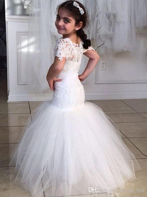 1621d7927c White Lovely Mermaid Flower Girl Dresses Short Sleeves Princess Tulle Beauty  Lace Little Girls Party Dress Princess Dresses Girls Party Dresses From ...