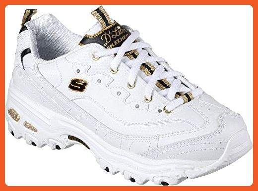 Skechers D'Lites With It Womens Sneakers WhiteBlackGold