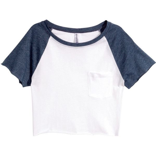 H&M Short top (77 ARS) ❤ liked on Polyvore featuring tops, t-shirts, shirts, blusas, dark blue, white t shirt, cotton shirts, short sleeve shirts, short sleeve tee and tee-shirt