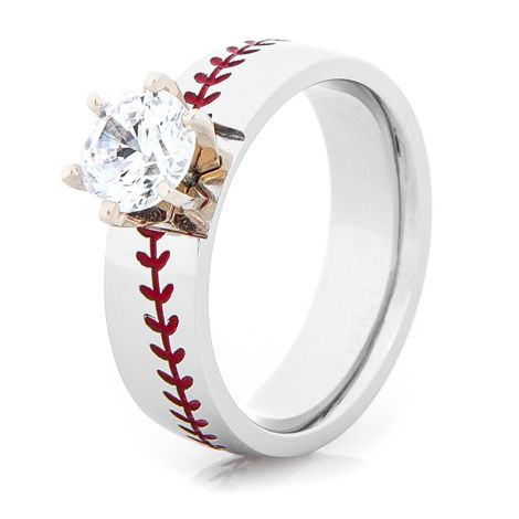 Womens Cobalt Baseball Stitch Engagement Ring