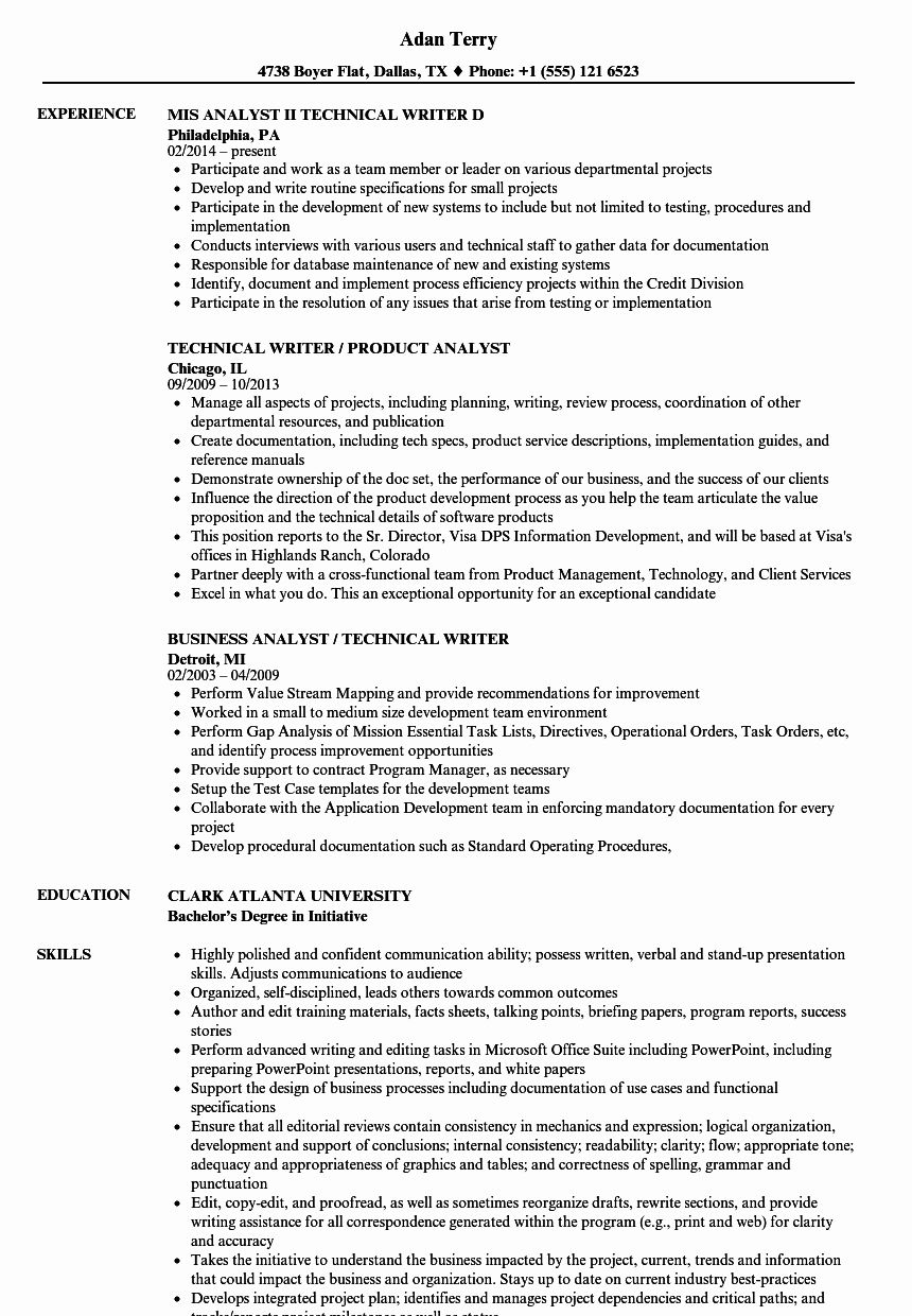 Technical Writer Resume Examples Best Of Technical Writer