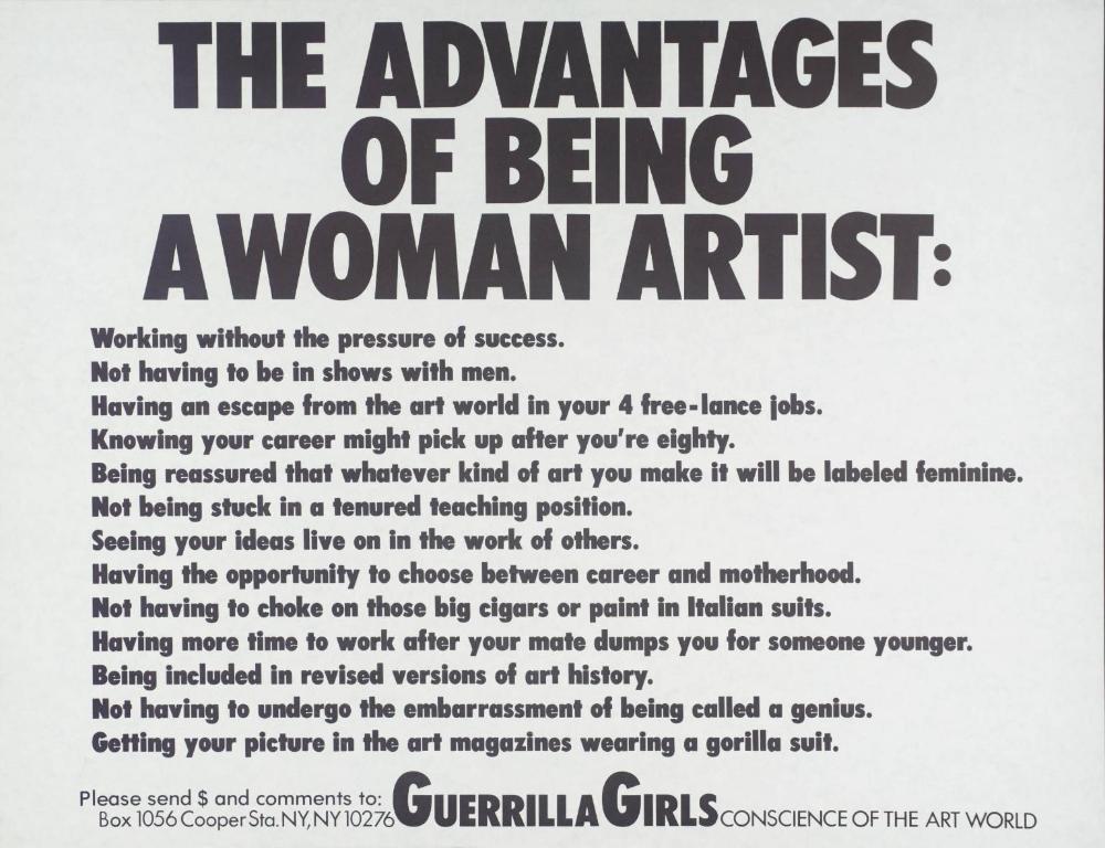 The Advantages Of Being A Woman Artist Guerrilla Girls 1988 Em 2020 Guerrilha Historia Do Feminismo Feminista