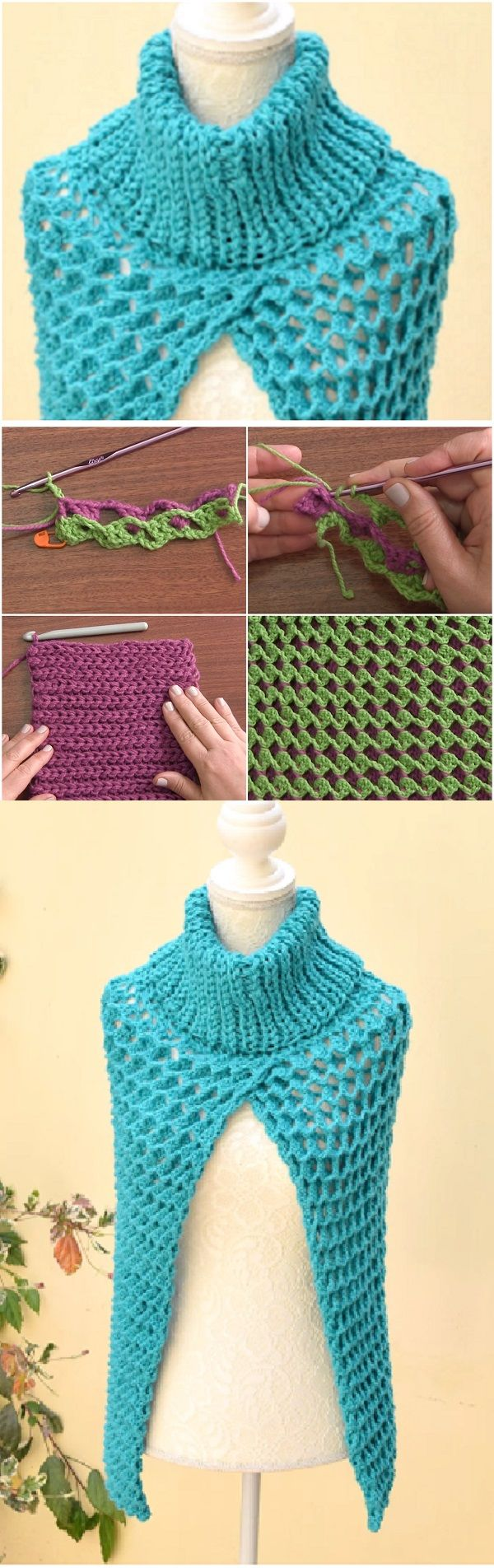 Crochet Poncho Cape with Turtleneck | Crochet | Pinterest | Ponchos ...
