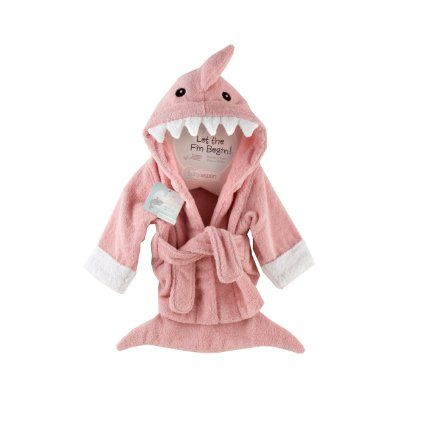 """Amazon.com : Baby Aspen """"Let the Fin Begin"""" Shark Robe, Pink, 0-9 Months : Infant And Toddler Robes : Clothing"""