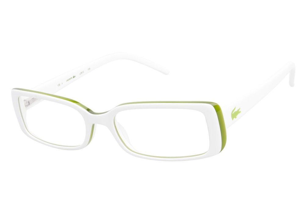 Lacoste L2612 105 White Green eyeglasses are bright and white. This ...