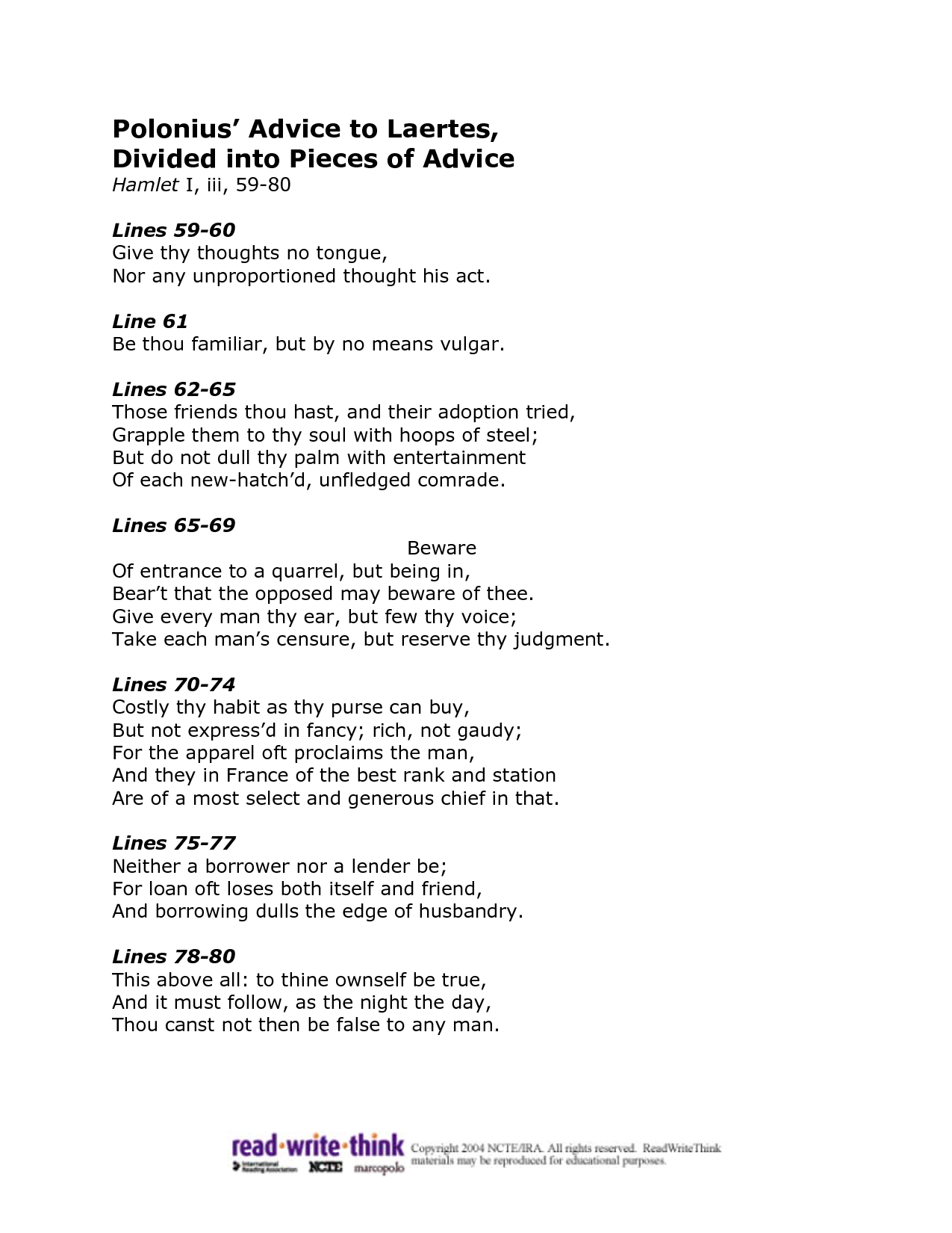 Poloniu Advice To Laerte Word Thoughts The Raven Poem Annotated