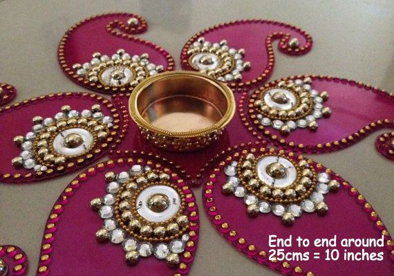 pink red or purple Kundan Rangoli Mandala decor Table