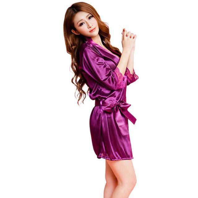 Mid-sleeve sexy women nightwear robes plus size M L XL XXL lace real silk  female 394d825b9