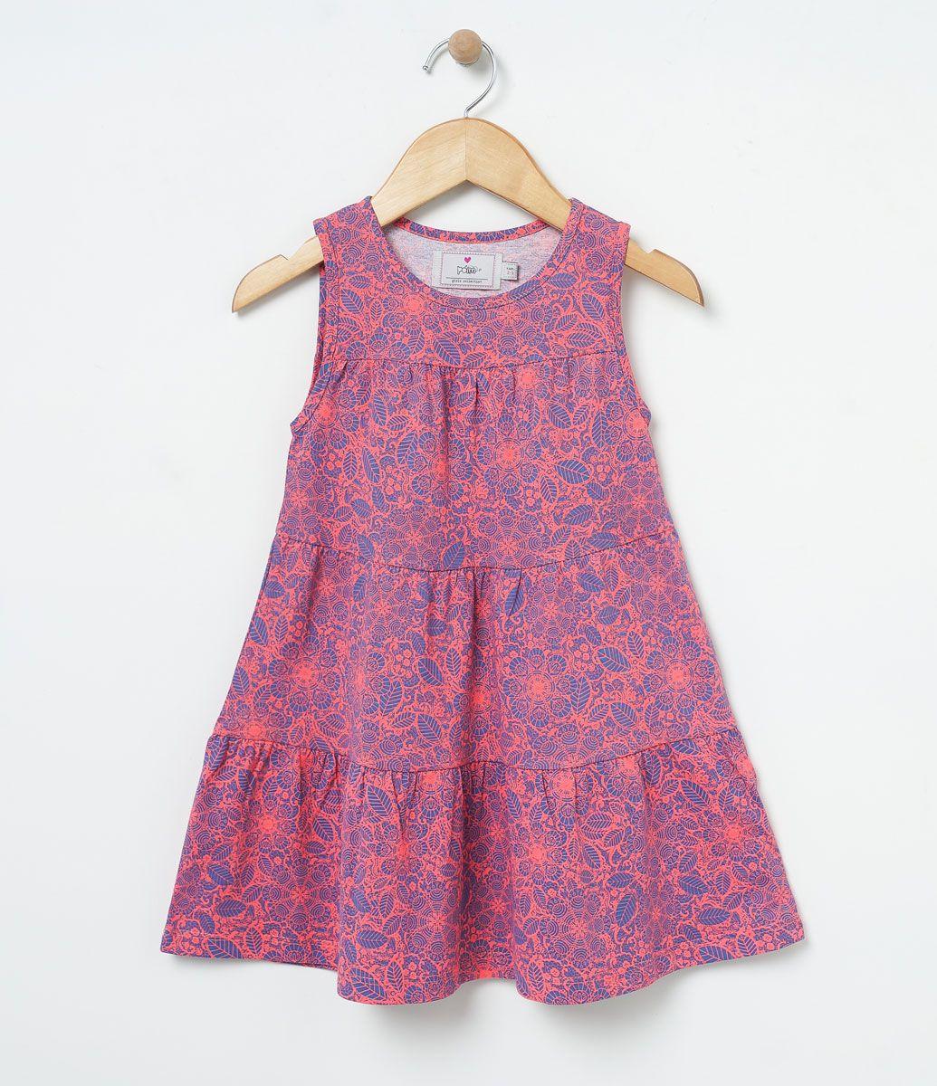 Vestido infantil Sem mangas Gola redonda Estampado Marca: Póim ...