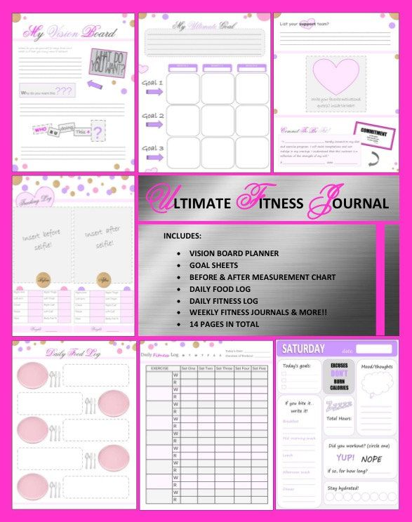 printable health and fitness journal fitness by dgirlexclusive