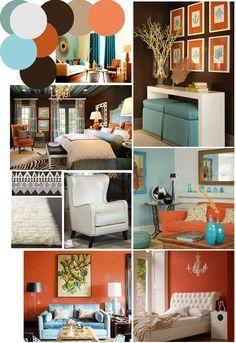 Color Palette Inspo Chocolate Brown Coral And Robin S Egg Blue Living Room Orange Living Room Color Schemes Burnt Orange Living Room
