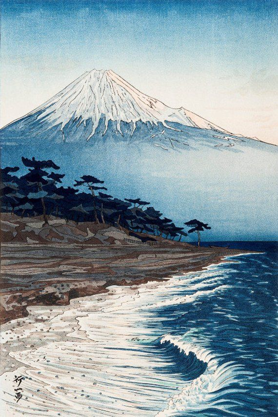 Japanese Art Print Mt. Fuji from Hagoromo by Okada | Etsy