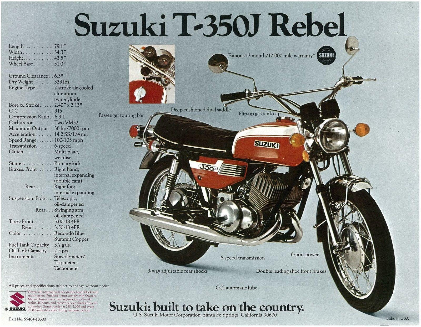 Suzuki Brochure T350 T350j 1972 Sales Suzuki Classic Motorcycles Old Motorcycles