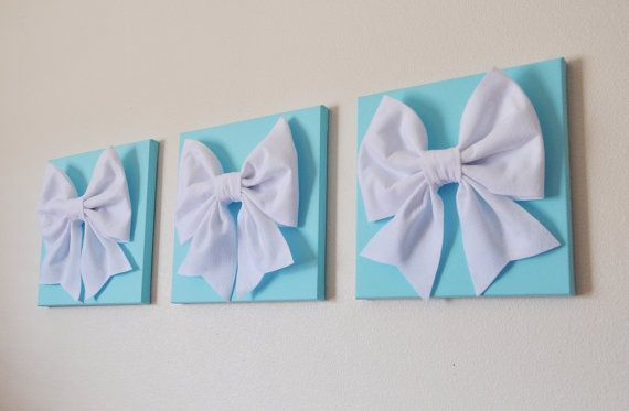 "Tiffany Blue -SET OF THREE White Bows on Bright Aqua Solid 12 x12"" Canvas Wall Art- Home Decor on Etsy, $93.00"