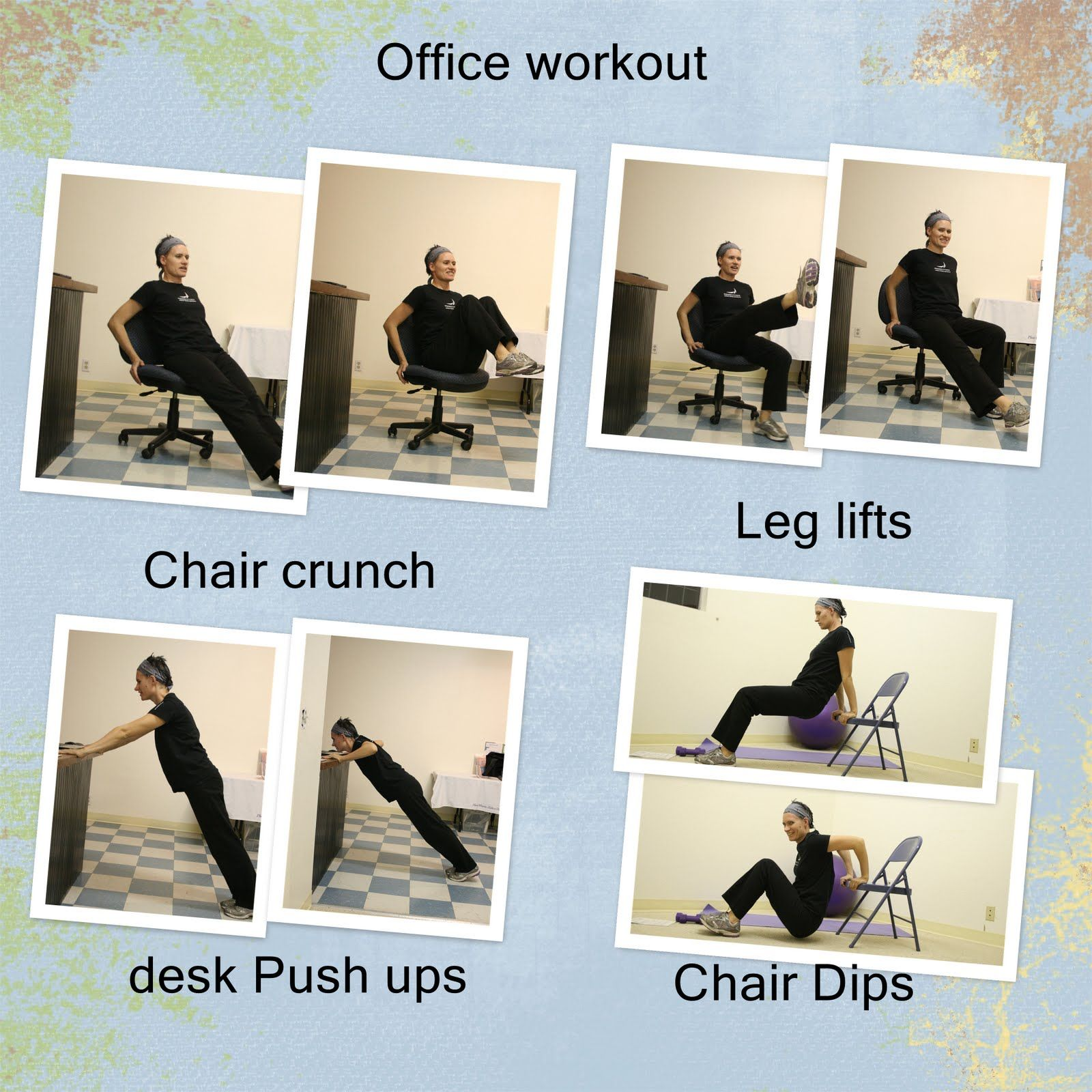 Ideas for a workout at your desk whether your office desk for Chair workouts