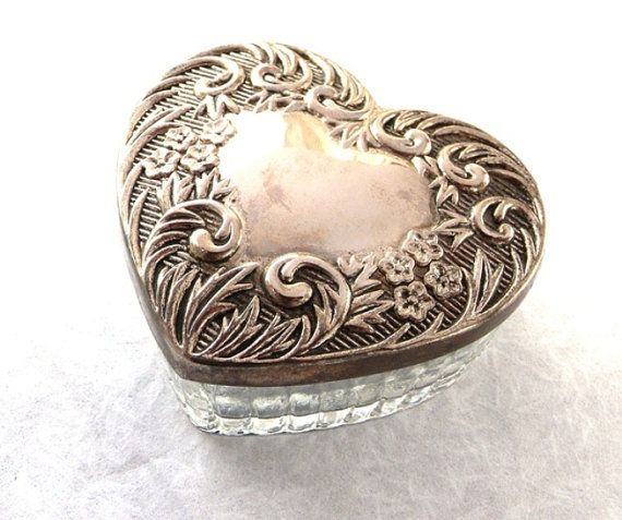 Vintage Heart Shaped Trinket Jewelry Box Powder Jar Ornate Silver