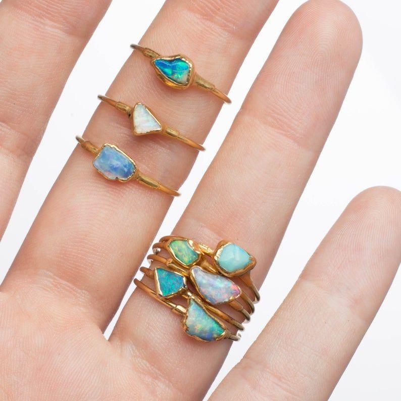 October Birthstone Gift for Her Raw Gemstone Jewelry Raw Gemstone Ring Opal Stackable Ring opal Ring Raw Opal Stackable Gemstone Ring