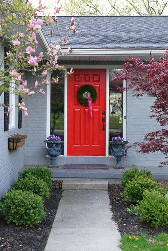 Exterior house colors - gray & black with red door. From: http://www ...