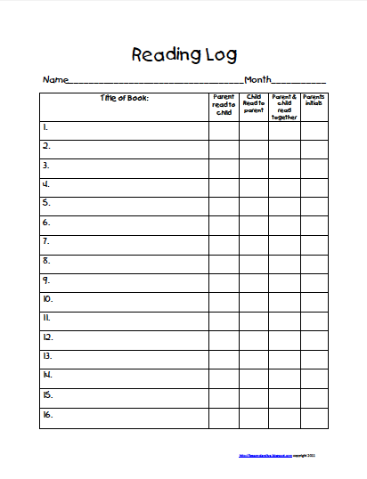 picture relating to Printable Reading Logs With Parent Signature known as Get Household Looking at Log Freebie Remarkable Schooling Things