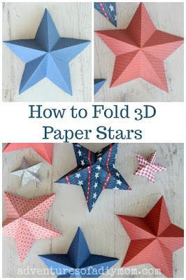 Learn how to make 3-D paper stars. A few folds, a snip here, another fold there and voila! you have a star, perfect for decorating your space. It looks complicated, but believe me, it's really easy. Anyone can make them! #paperstars #3dpapersters #howtofoldpaperstars #adventuresofadiymom
