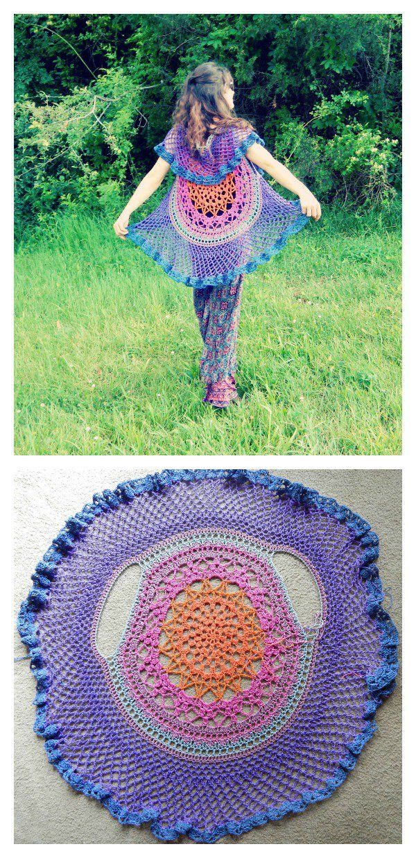Crochet Pretty Circle Jacket with Pattern | Häkelmuster, Frei und ...