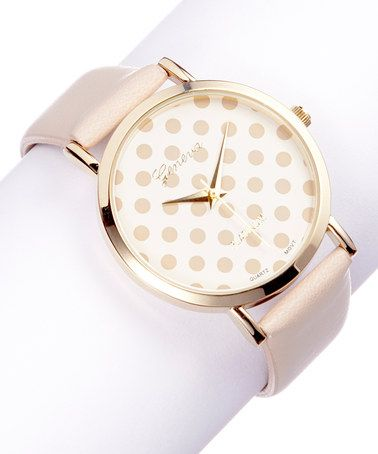 Another great find on #zulily! Tan & Gold Polka Dot Leather-Strap Watch #zulilyfinds