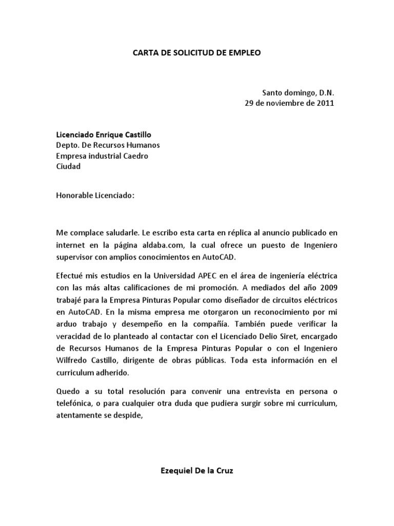 Carta De Empleo En Word formato carta laboral en word ...