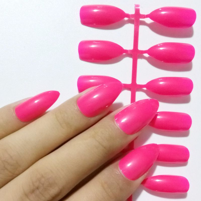 24Pcs Shiny Pointed False Nail Tips Hot Pink Fake Stiletto Nail ...