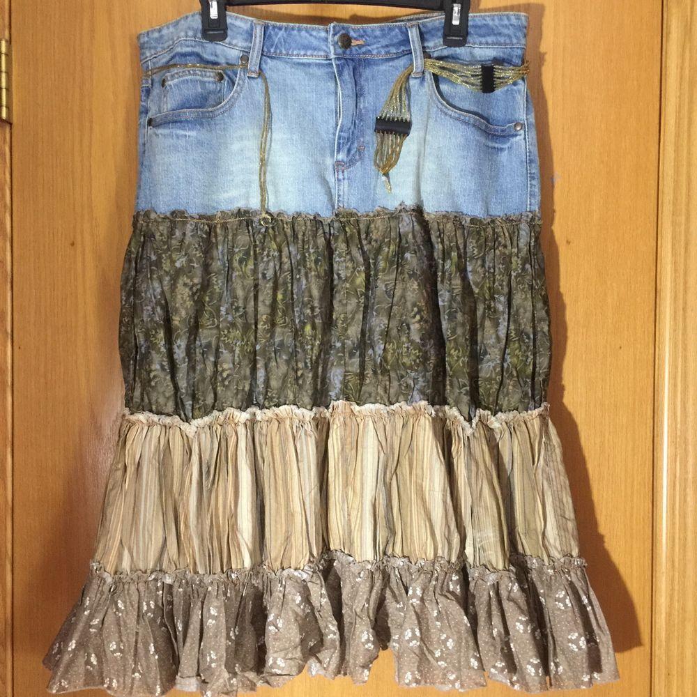 Mudd Jeans Denim Jean Skirt  Size 15 Ruffle Bohemian Tiered Gypsy Peasant Boho #MuddJeans #PeasantBoho