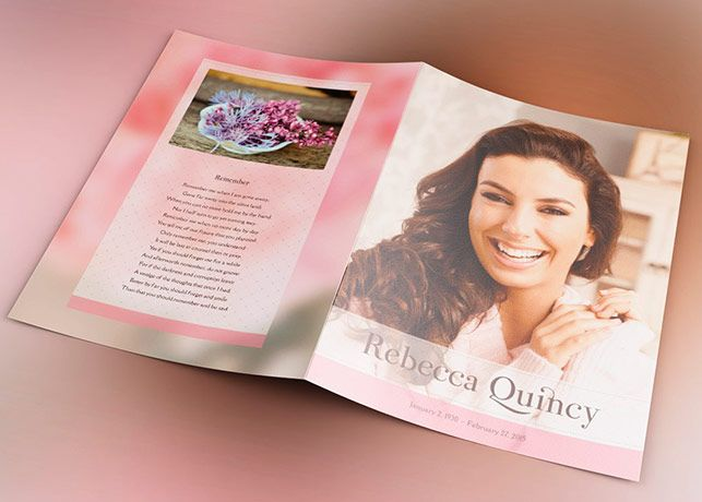 Glamour Funeral Program Template Is A Modern Memorial Or Funeral