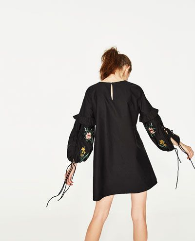 Image 4 of DRESS WITH EMBROIDERED SLEEVES from Zara
